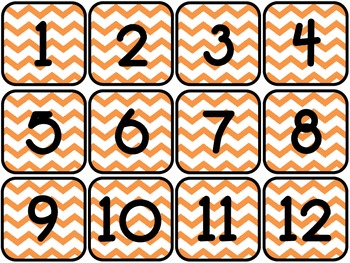 Chevron Calendar Numbers (12 complete sets)