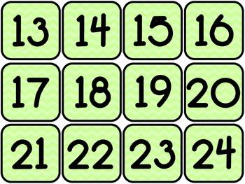 Chevron Calendar Numbers (12 complete sets)
