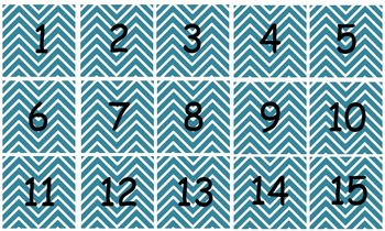Chevron Calendar Numbers in 10 Different Colors