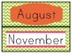 Chevron Calendar Pack - Numbers, Months, Days of the Week,