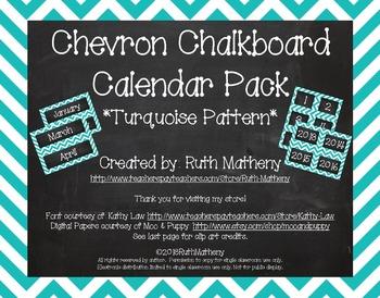Chevron Calendar Pack - Turquoise
