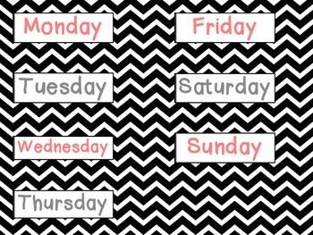 Chevron Calendar Pieces