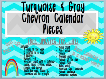 Chevron Calendar Pieces - Turquoise and Gray