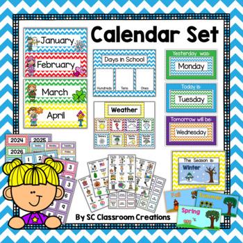 Chevron Calendar Set-Classroom Decor