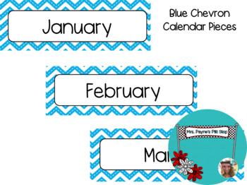 Blue Chevron Calendar Pieces