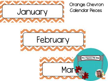 Orange Chevron Calendar Pieces