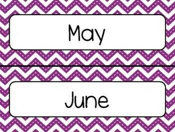 Purple Chevron Calendar Pieces