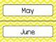 Yellow Chevron Calendar Pieces