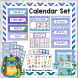 Chevron Calendar Set (Purple and Blue)-Classroom Decor