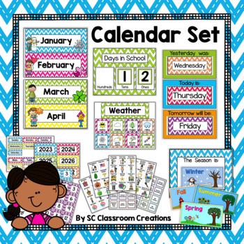 Chevron Calendar Set (Stitched Chevron)-Classroom Decor