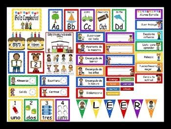 Chevron Calendar Set and Classroom Decorations {Spanish Version}
