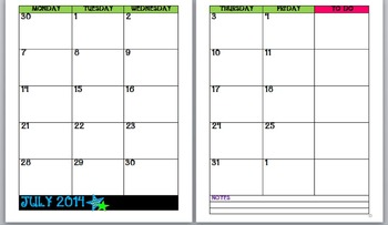 Chevron Calendar with Stars-green and blue (2014-2015)
