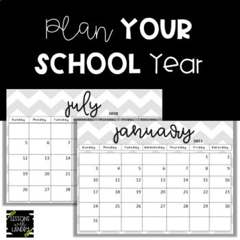 Chevron Calendars 2018-2019 School Year {EDITABLE} Gray & White