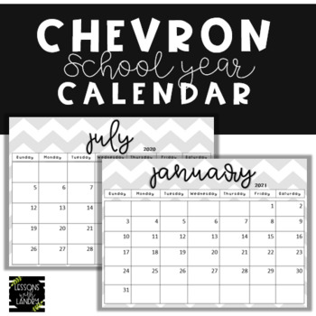 Chevron Calendars 2016-2017 School Year {EDITABLE} Gray & White