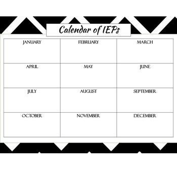 Calendars for Special Educator Teachers {Editable Black/White Chevron}
