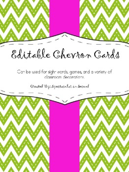 Chevron Cards - EDITABLE!!