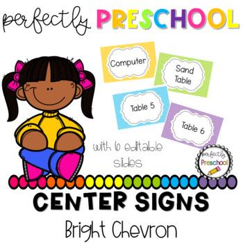 Bright Chevron Center Labels {Editable}