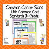 Chevron Center Signs with the Common Core State Standards for First Grade