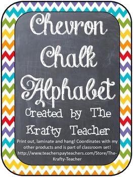 Upper Grades Cursive Rainbow Chevron Alphabet