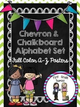 Chevron Chalkboard Alphabet Set