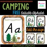 Camping Alphabet- editable- FREE