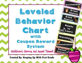 Chevron Chalkboard Behavior Chart with Coupon Rewards