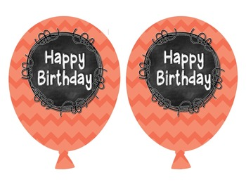 Chevron Chalkboard Birthday Balloons FREEBIE