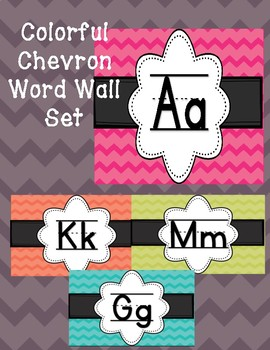 Chevron Chalkboard Brights Alphabet Word Wall (ball and stick)