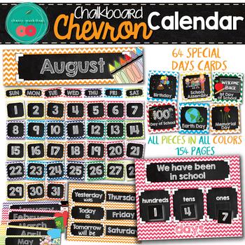 Chevron Chalkboard Calendar