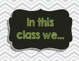 Chevron Chalkboard Class Rules set