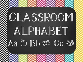 Chevron Chalkboard Classroom Alphabet ABC Posters