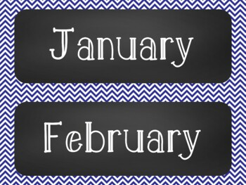 Chevron Chalkboard Classroom Calendar Set 9 Colors Blue Green Turquoise
