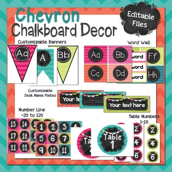 Chalkboard and Chevron Classroom Decor Bundle