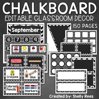 Classroom Decor Black and White   EDITABLE Chalkboard Classroom Decor