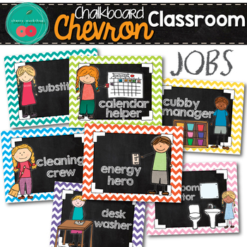 Chevron Chalkboard Classroom Jobs