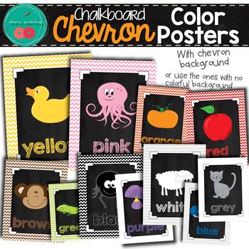 Chevron Chalkboard Color Posters