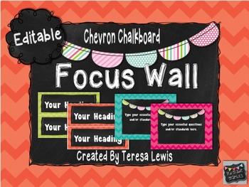 Chevron Chalkboard Customizable Focus Wall