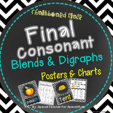 Chevron & Chalkboard **FINAL Consonant Blends/Digraphs  Posters and Charts**