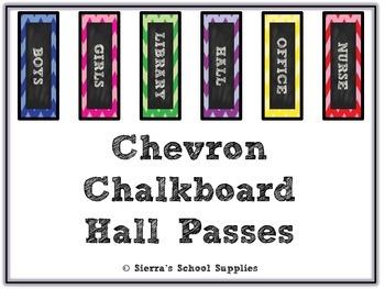 Chevron Chalkboard Hall Passes