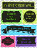 """Chevron Chalkboard """"In this class"""" poster"""