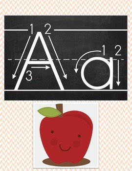 Chevron Chalkboard Inspired Alphabet Card Set Primary Arrow font