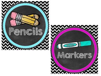 Chevron Chalkboard Neon Supply Labels