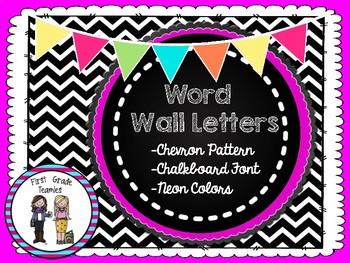 Chevron Chalkboard Neon Word Wall Alphabet
