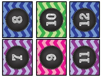 Chevron Chalkboard Student Numbers Small