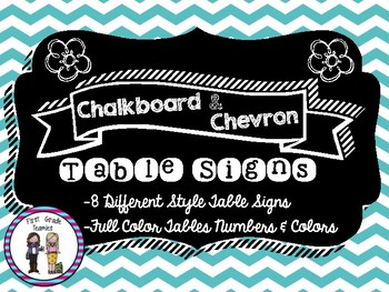 Chevron Chalkboard Table Signs