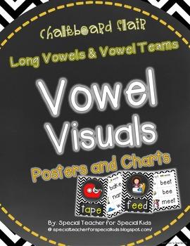 Chevron & Chalkboard *Vowel Visuals (vowel teams/long vowels) Posters & Charts*