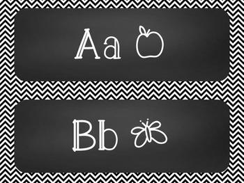 Chevron Chalkboard Word Wall Alphabet Heading Set