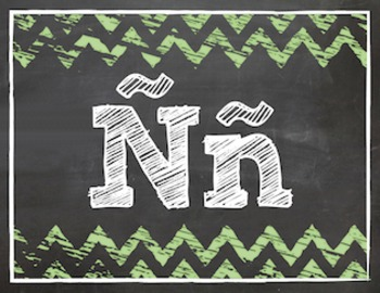 Chevron Chalkboard Word Wall Letters: Spanish Alphabet