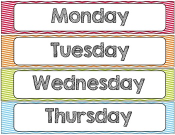 Chevron Chic 5 Colors Desk tags (with graphics) Month and Days of the Week