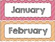 Chevron Chic- 5 Desk tags (apple graphics) Month and Days of the Week